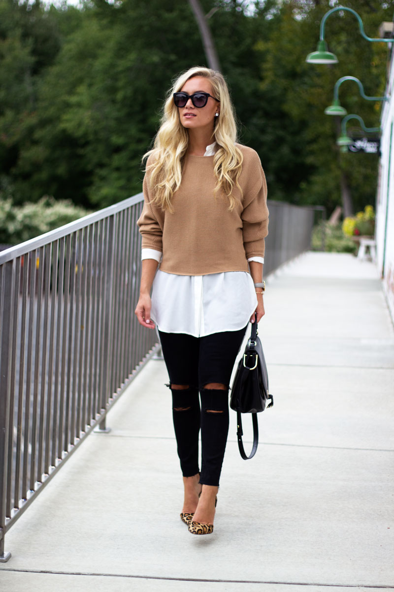 style-ripped-black-jeans-camel-sweater-nordstrom-white-tunic
