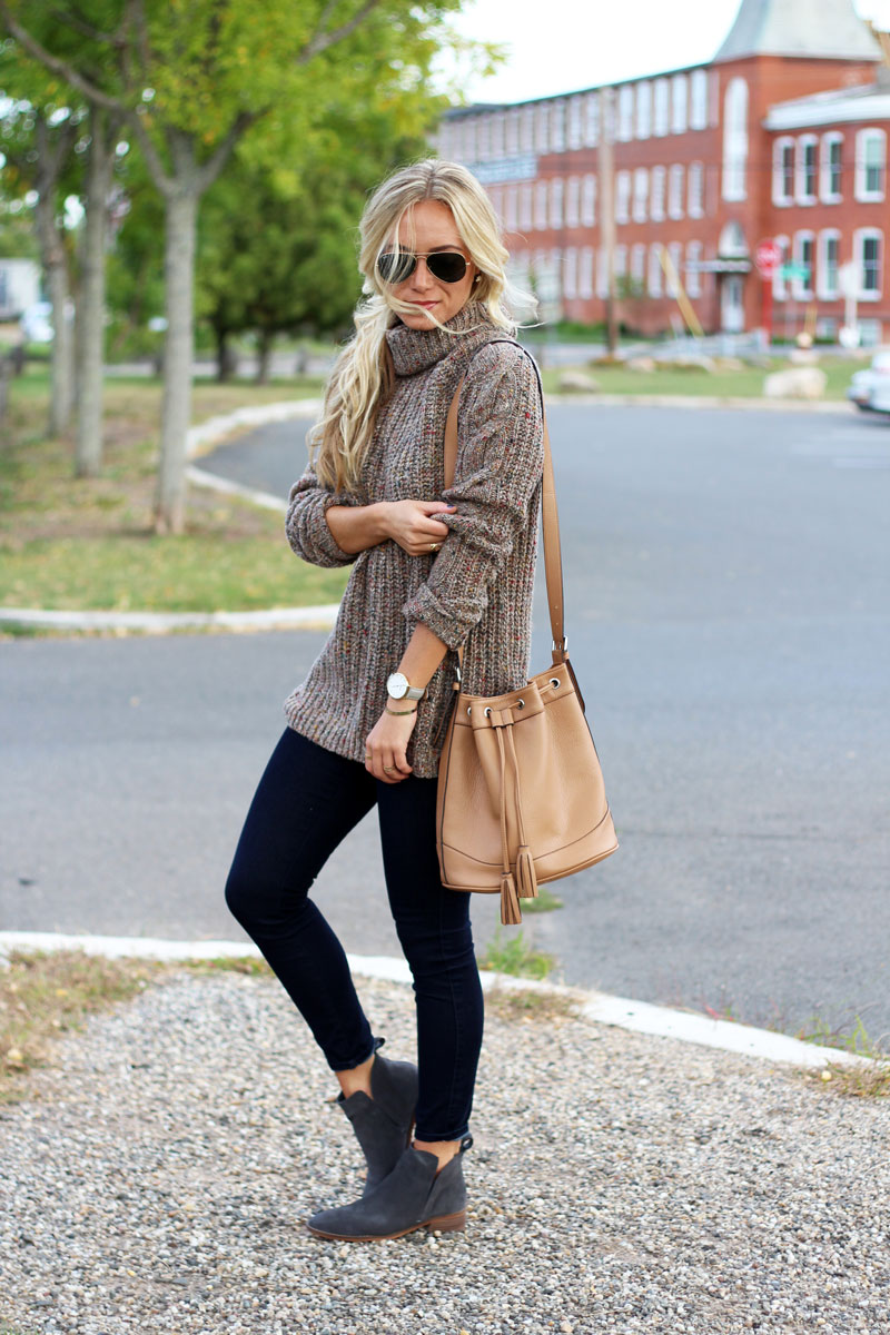 brown-turtleneck-knit-sweater-tan-bucket-bag