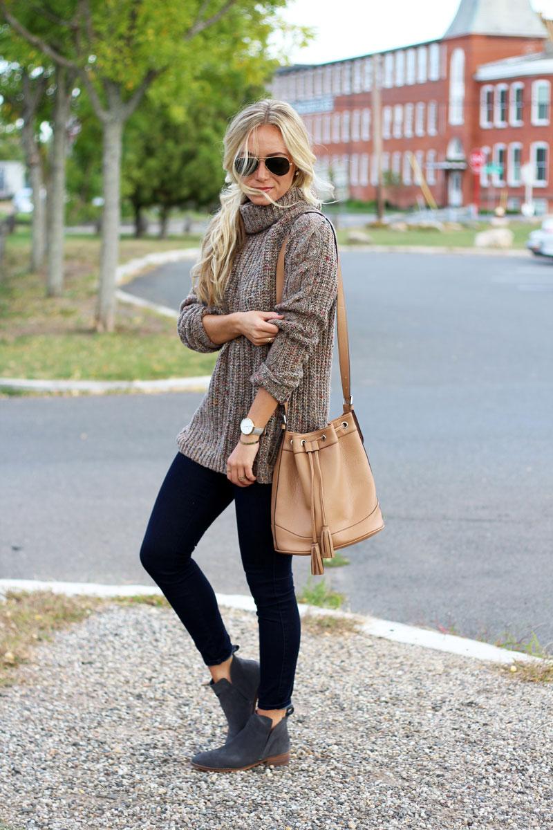 brown-turtleneck-knit-sweater-tan-bucket-bag