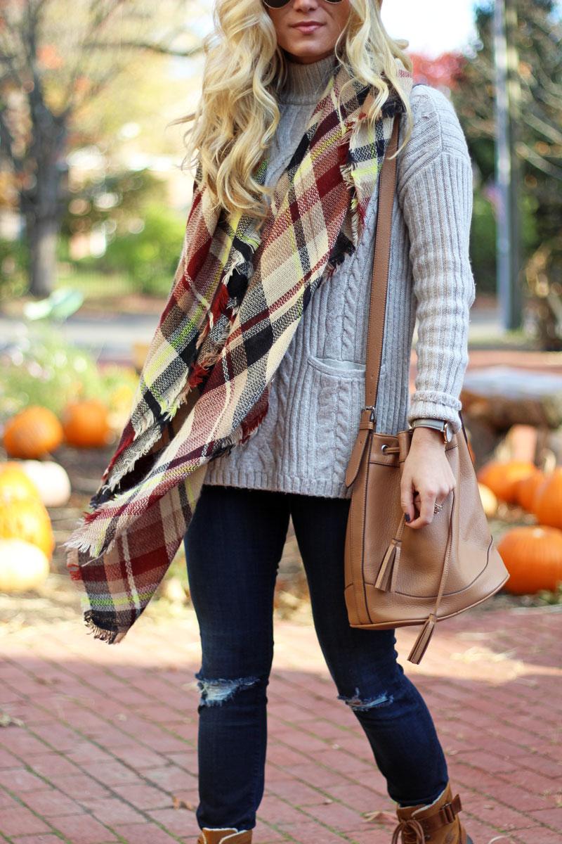 fall-plaid-blanket-scarf-cognac-bucket-bag-cozy-cableknit-turtleneck-sweater
