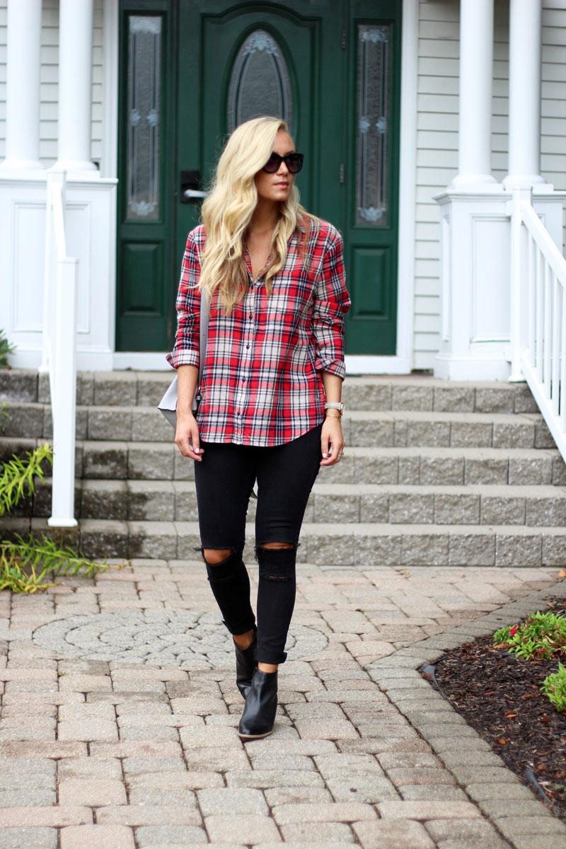 fall-style-plaid-shirt-distressed-jeans-booties
