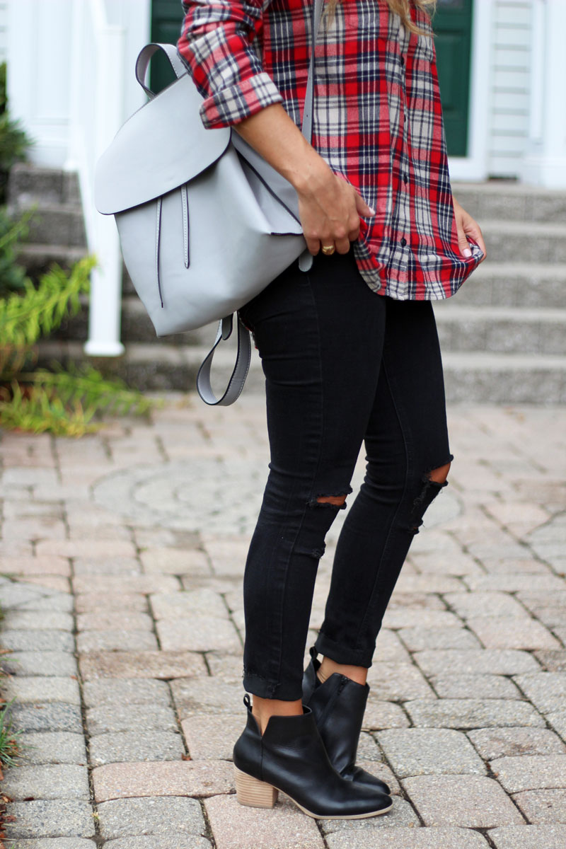 gray-backpack-red-plaid-top-black-ripped-jeans