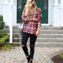STYLE // Fall Plaid with Ripped Black Jeans