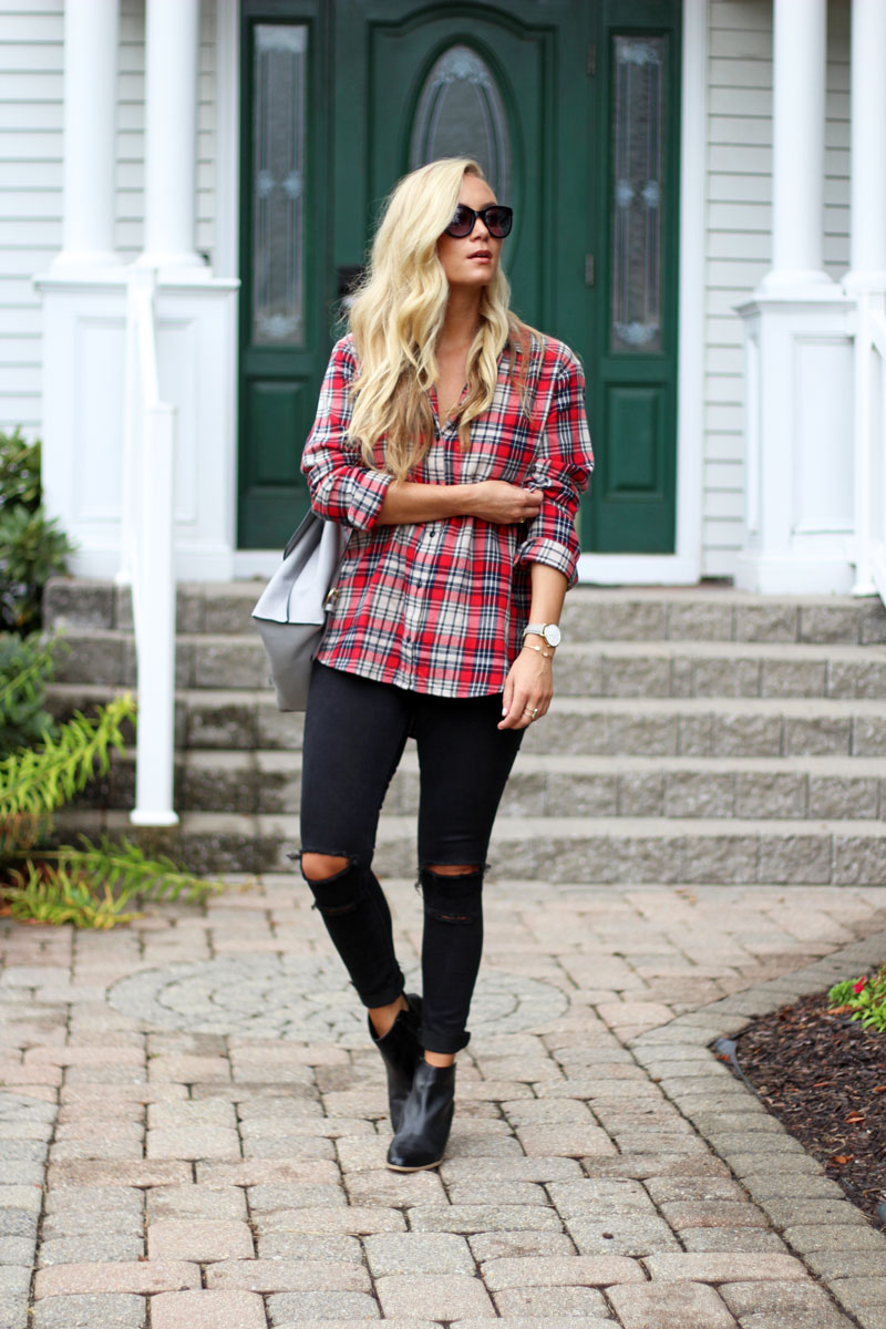 madewell-plaid-shirt-black-ripped-jeans-sole-society-booties