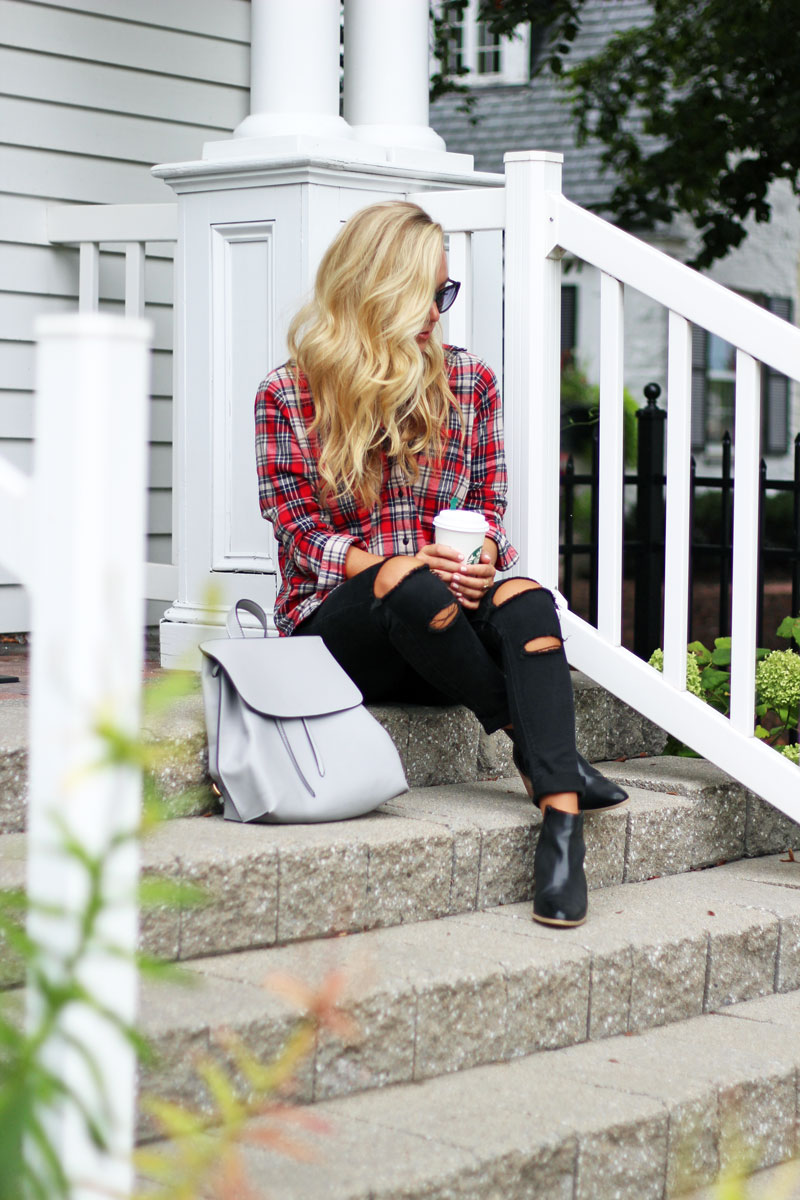 madewell-plaid-shirt-black-ripped-jeans-sole-society-gray-backpack-black-booties