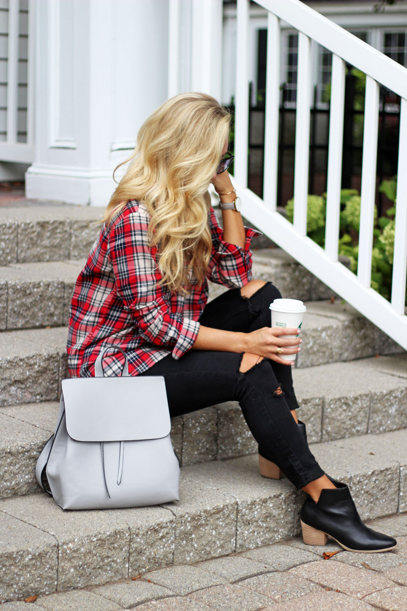 madewell-red-plaid-shirt-starbucks-fall-sole-society-black-booties-distressed-black-jeans