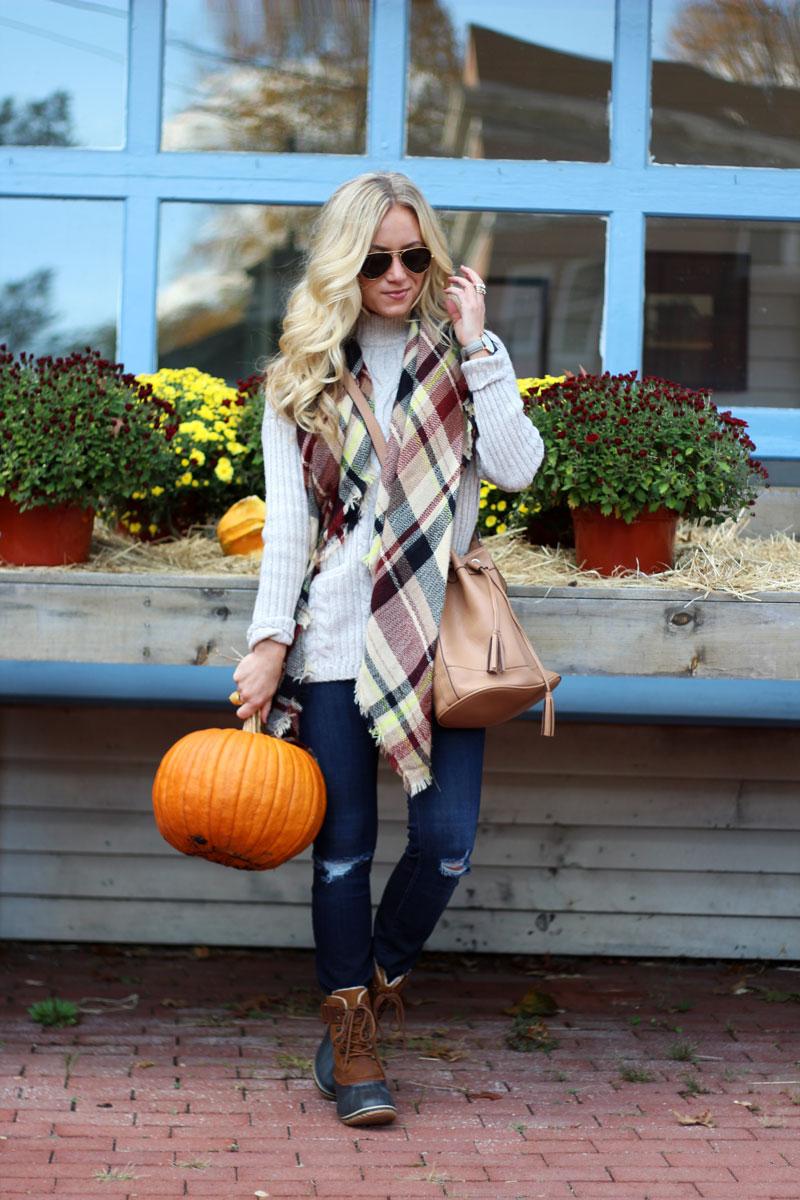 plaid-blanket-scarf-cable-turtleneck-sweater-sorel-footwear