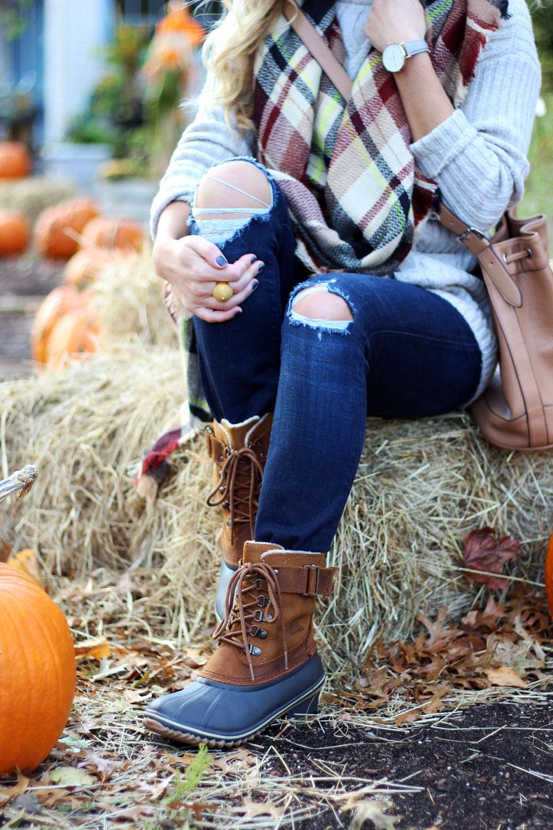plaid-blanket-scarf-sorel-boots-distressed-denim