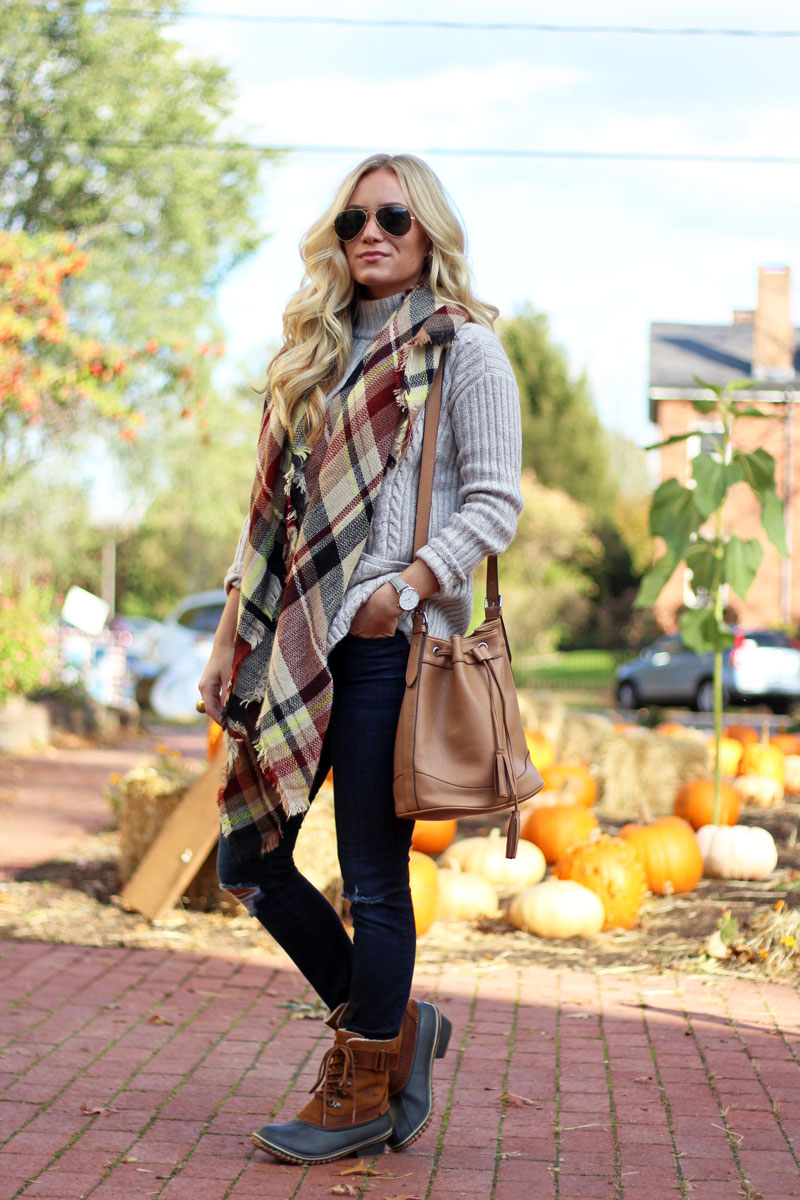 plaid-blanket-scarf-turtleneck-sweater-sorel-bean-boots-fall-cozy-style