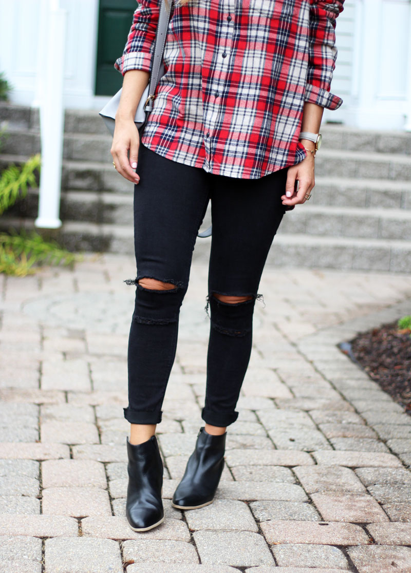 red-plaid-top-black-ripped-jeans-sole-society-booties-fall-style