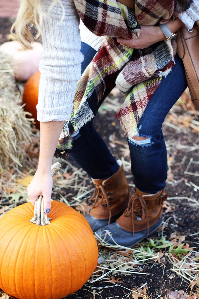 winter-sorel-boot-plaid-scarf-pumpkin-patch-picking