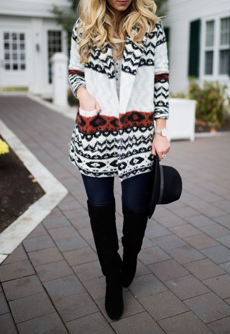 black-over-the-knee-boots-printed-cardigan-fall-outfit-inspiration