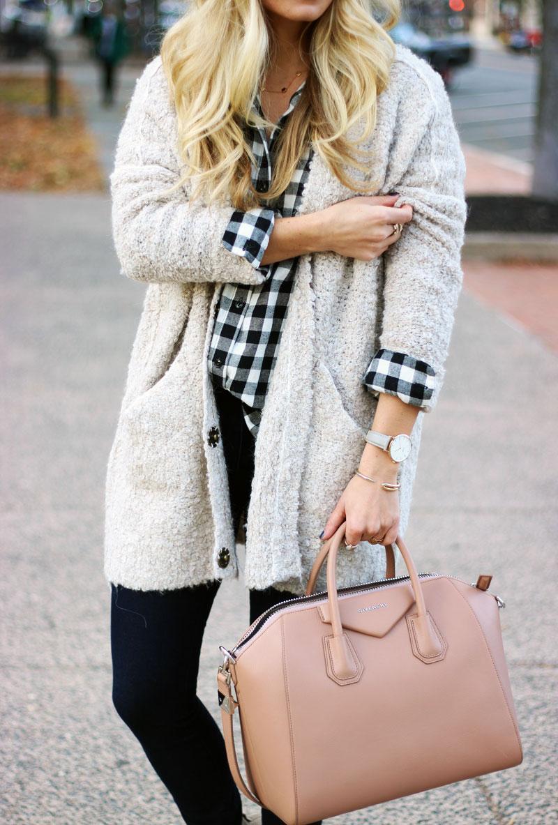cozy-boucle-cardigan-buffalo-check-plaid-shirt-givenchy-antigona-satchel