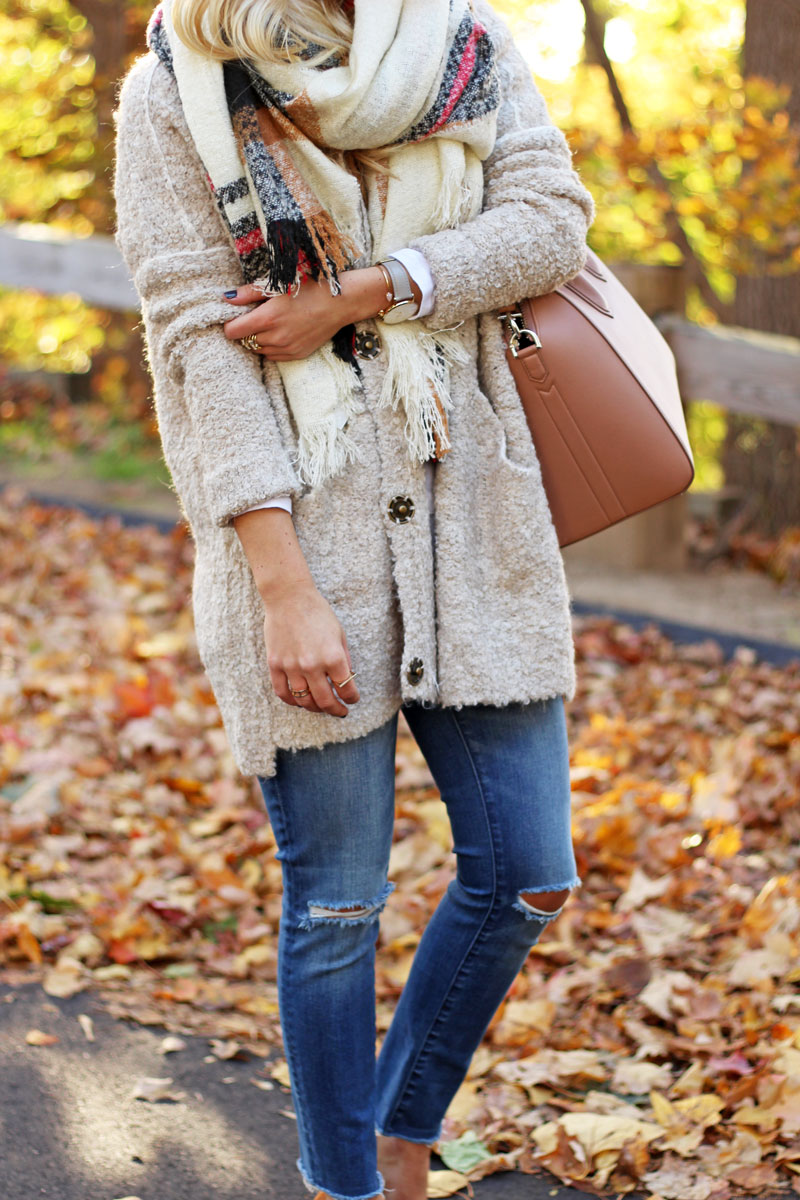 distressed-skinny-jeans-free-people-boucle-sweater-cardigan-plaid-blanket-scarf