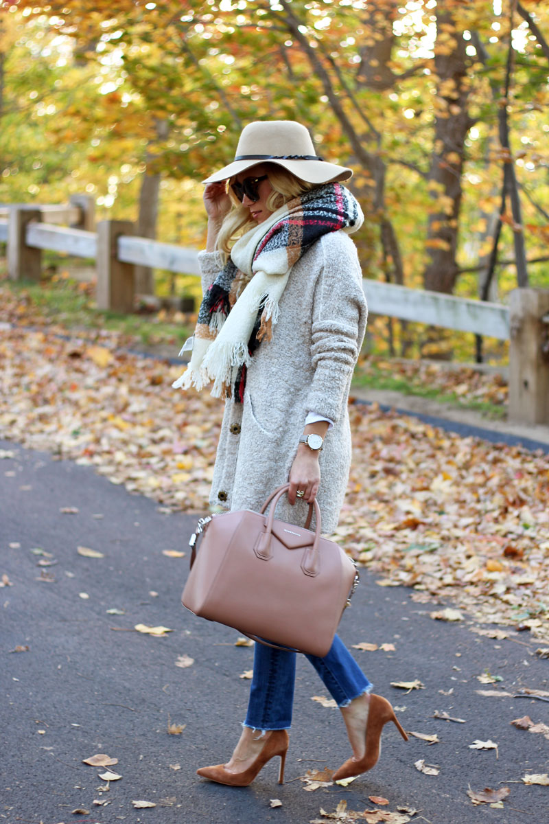 free-people-boucle-cardigan-plaid-oversized-blanket-scarf-cognac-suede-pumps-givenchy-antigona-bag-black-friday-sales