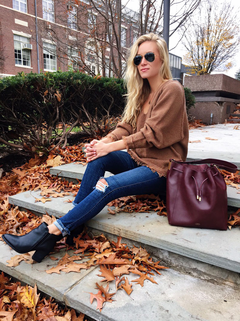 free-people-fringe-trim-sweater-maroon-bucket-bag-ripped-jeans-black-booties-cyber-monday-sales