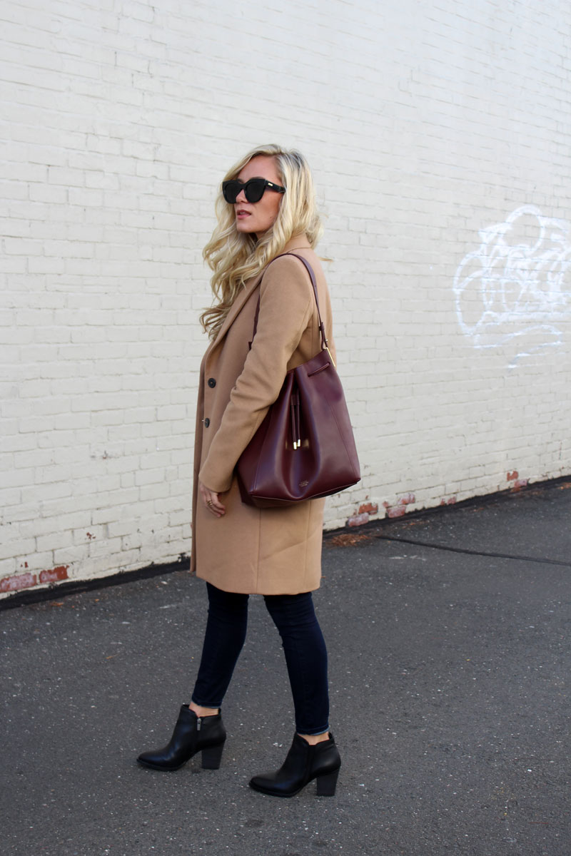 66b35d83e40 vince-camuto-bucket-bag-and-black-booties-camel-coat - Style Cusp