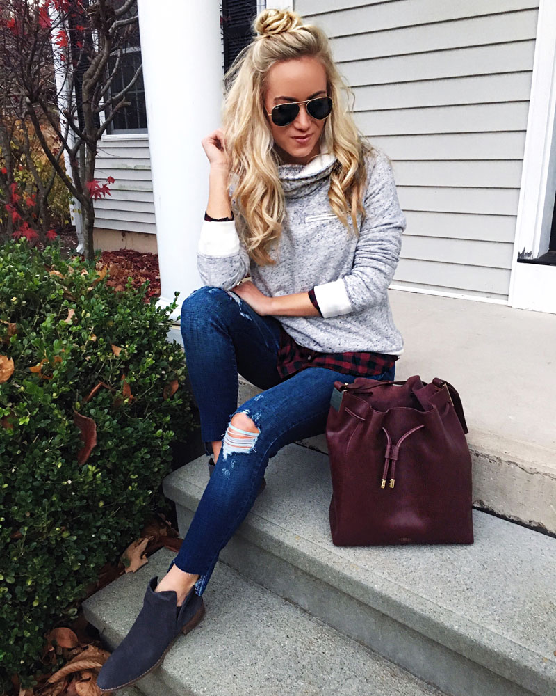 abecrombie-fleece-pullover-plaid-top-ripped-raw-hem-jeans-maroon-bucket-bag