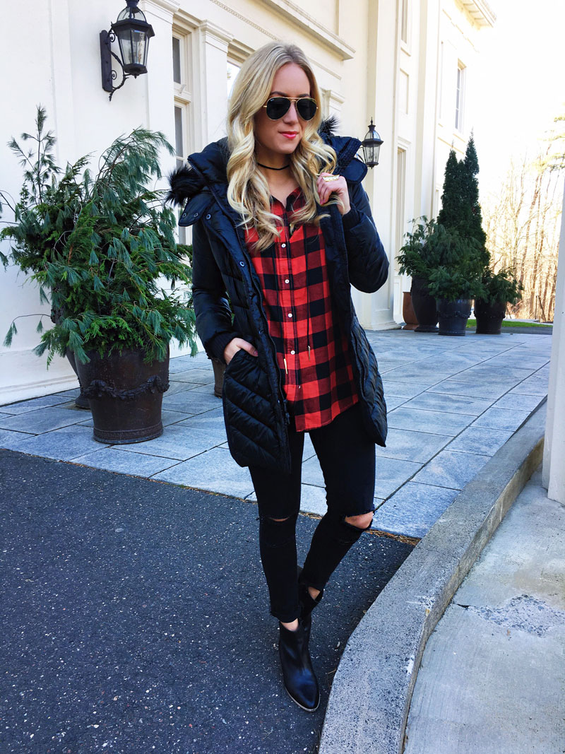 black-puffer-coat-red-buffalo-plaid-flannel-shirt-ripped-black-jeans-black-booties-abercrombie-style-blogger-winter-stylish