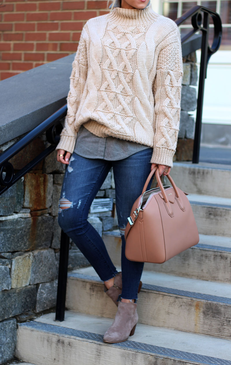 chicwish-cableknit-sweater-madewell-flannel-shirt-abercrombie-jeans-givenchy-antigona-bag