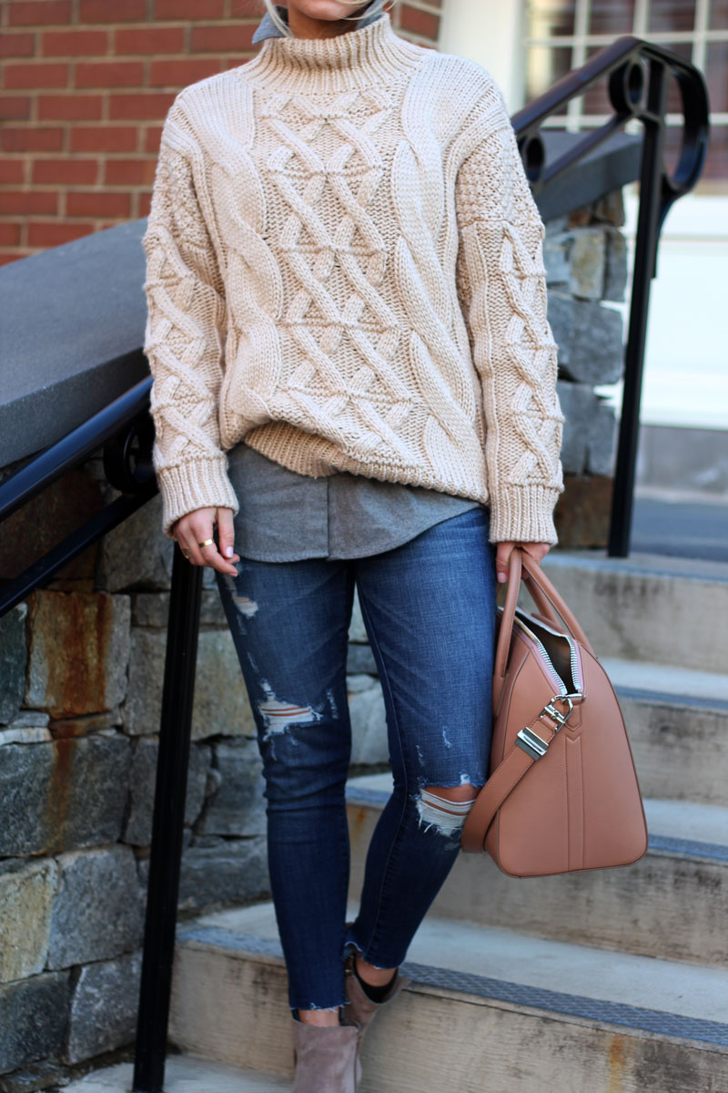 chicwish-cableknit-turtleneck-sweater-madewell-flannel-top-abercrombie-jeans-givenchy-bag-stylish-winter-outfit