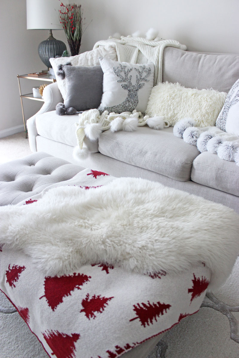 cozy-holiday-home-tour-pom-pom-blanket-anthropologie-nordstrom-pier-1-christmas-pillows-throw-pillows-faur-fur-pillow-shaggy-fur-pillow-neutral-living-room