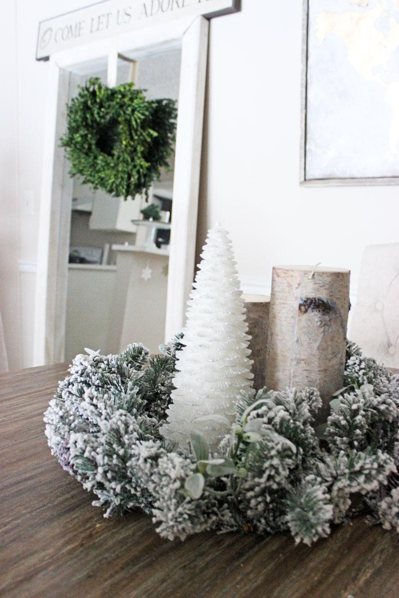 flocked-christmas-wreath-as-centerpiece-tree-candle-boxwood-wreath-christmas-decor