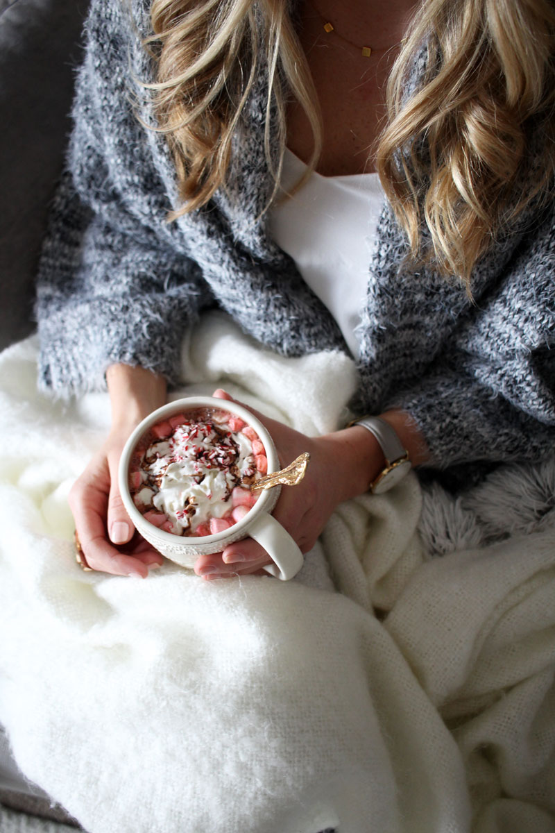gray-fuzzy-cardigan-hot-chocolate-cozy-on-the-couch-christmas-cozy-peppermint-marshmallows