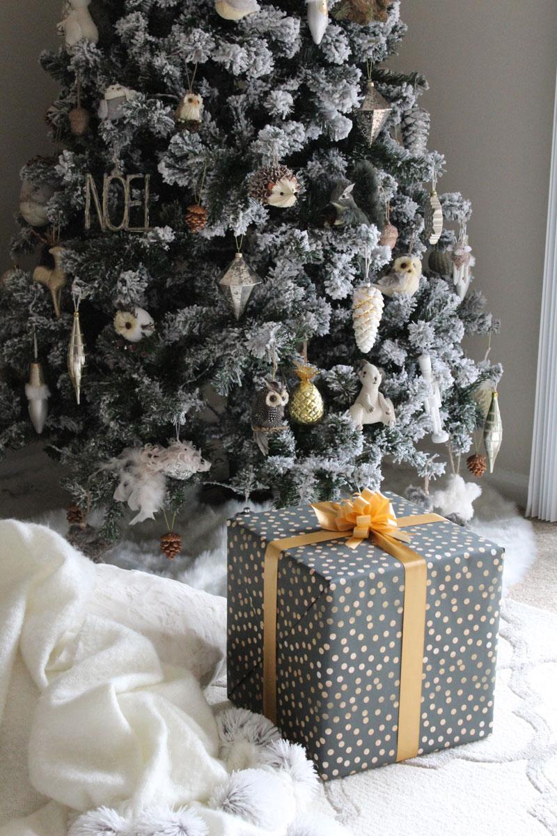 holiday-decor-farmhouse-christmas-tree-style-pompom-blanket-woodland-animal-christmas-ornaments-wrapped-presents-secret-santa-gift