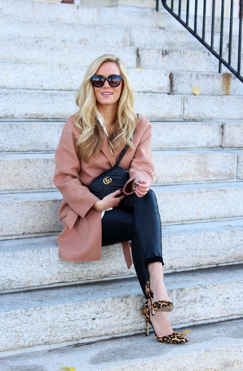 holiday-outfits-tan-wrap-coat-leopard-pumps-leather-leggings-gucci-bag