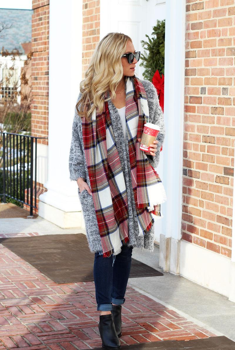 holiday-plaid-scarf-long-fuzzy-cardigan-nordstrom-winter-style-ideas-starbucks