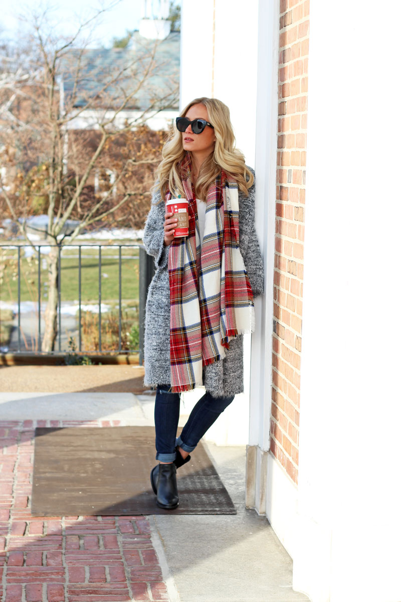 nordstrom-leith-cardigan-holiday-plaid-scarf-starbucks-winter-style-blogger-black-booties-affordable-style-hudson-jeans