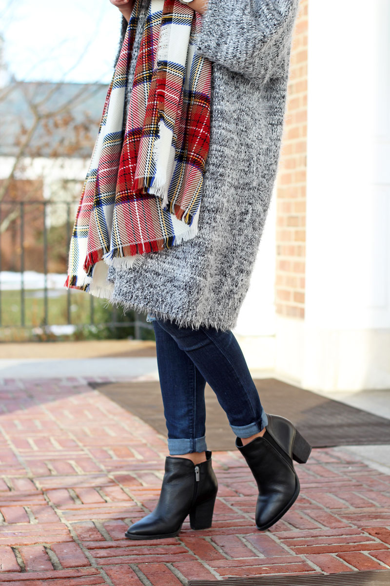 nordstrom-leith-fuzzy-cardigan-plaid-scarf-vince-camuto-black-booties