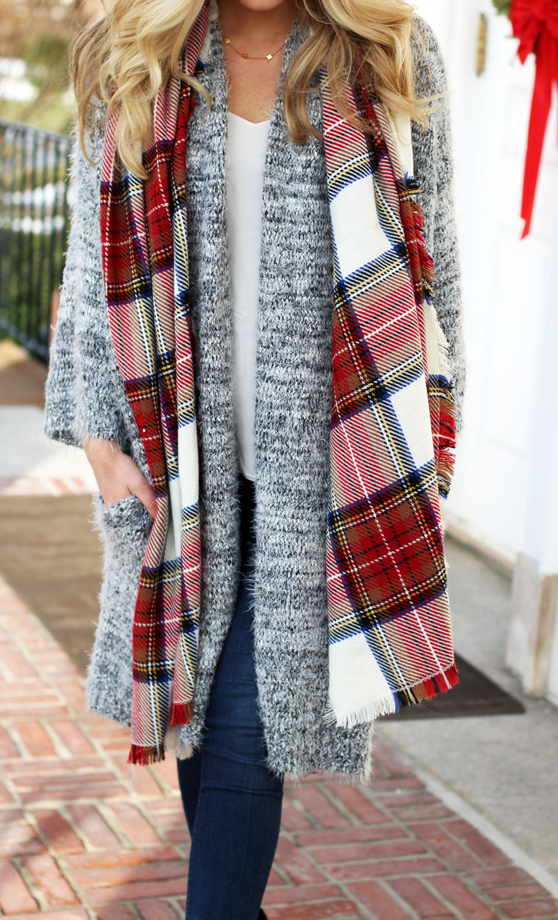 nordstrom-leith-long-gray-cardigan-fuzzy-cardigan-holiday-plaid-scarf