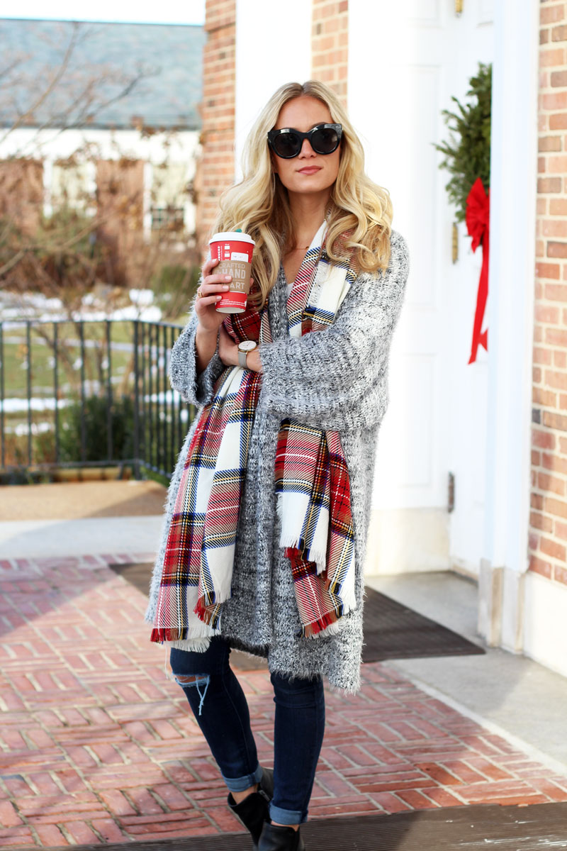 Grey cardigan with plaid scarf
