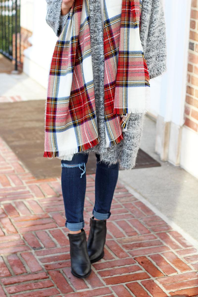 plaid-scarf-fuzzy-cardigan-black-booties-nordstrom