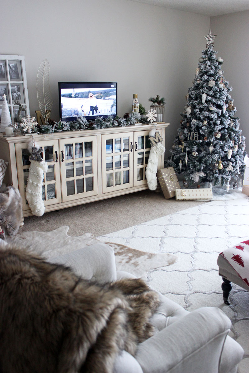 style cusp living room cozy farmhouse living room rustic chic decor holiday home tour wayfair tv stand flocked christmas tree
