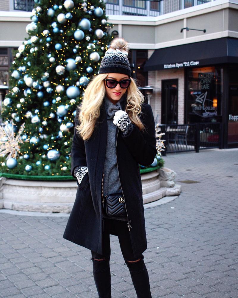 talbots-cozy-holiday-look-black-pea-coat-gray-turtleneck-sweater-fairaisle-print-pom-pom-beanie-fairaisle-gloves-holiday-gift-ideas-winter-style-christmas