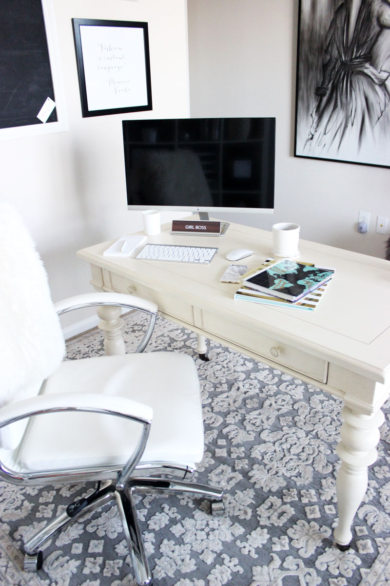 Bright-White-Office-Space-Clean-Simploe-Desk-Area-Gray-Floral-Rug-White-Office-Chair-Style-Cusp-Home-Office-Havenly