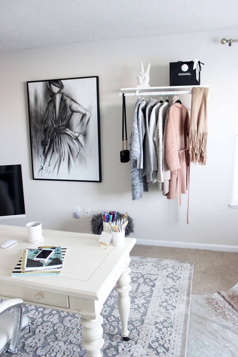 Charcoal-Style-Sketch-Blogger-Home-Office-Hanging-Clothing-Rack-Chanel-Bag-Style-Cusp-Home-Office