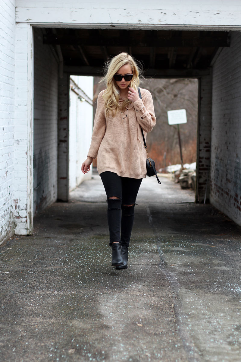Tan Sweater with Black Jeans