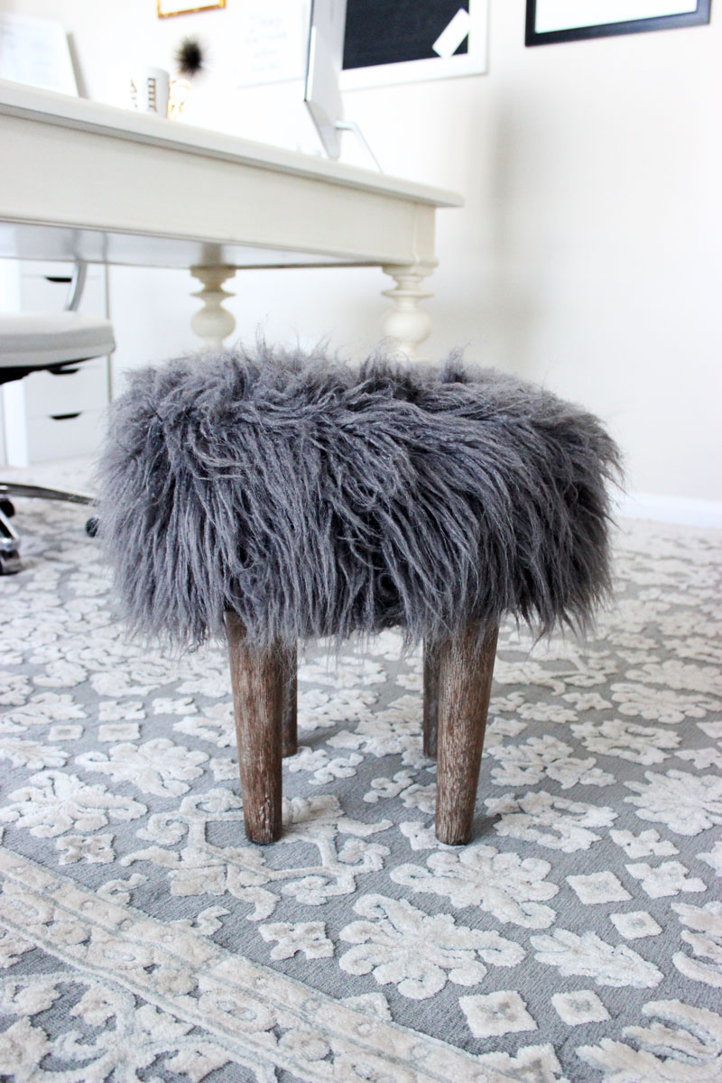 Faux-Fur-Mini-Footstool-Home-Decor-World-Market-Rustic-Chic-office-Stool