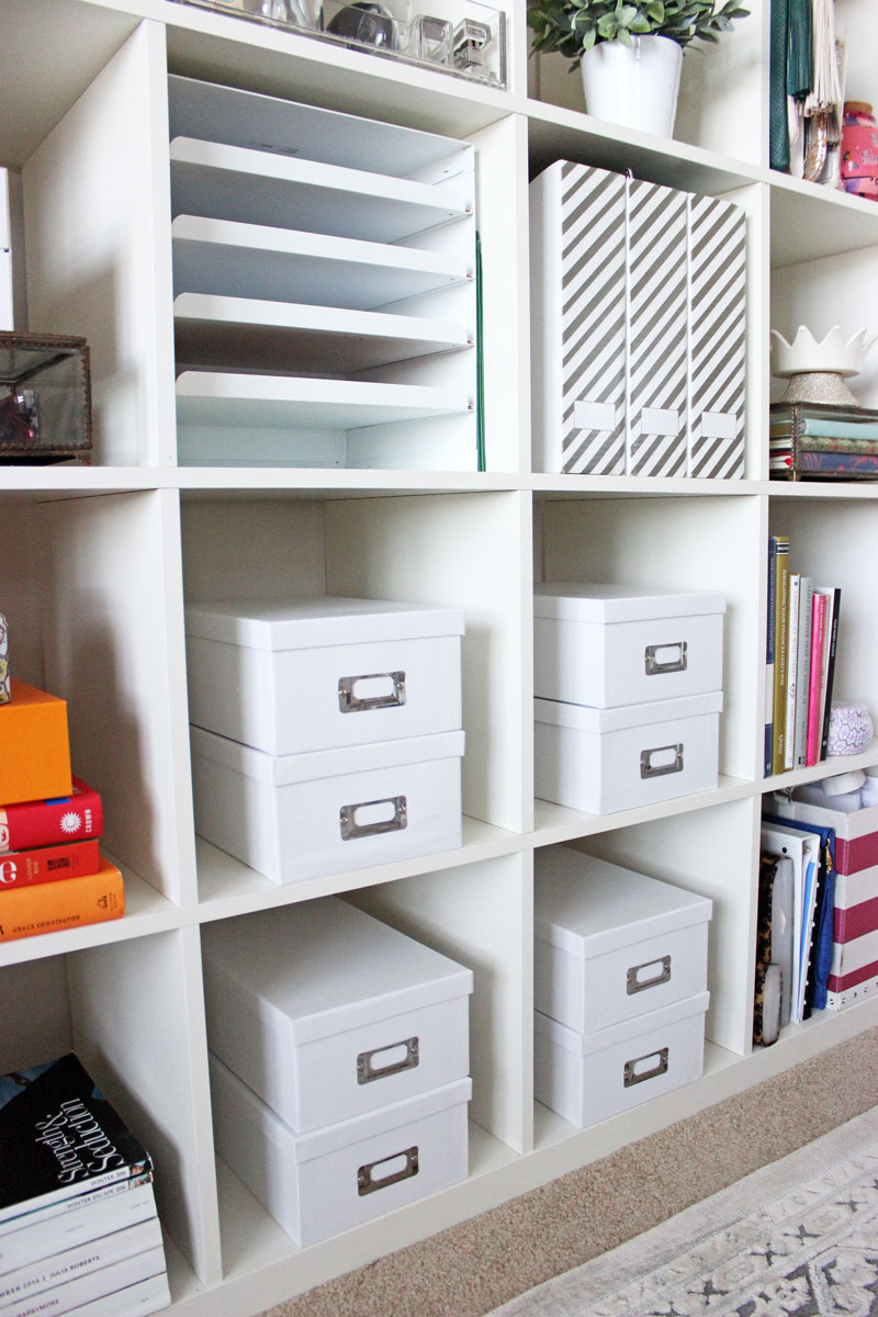Home-Office-Shelf-Organization-Style-Cusp-Ikea-Shelves-White-Photo-Box-Storage-containers