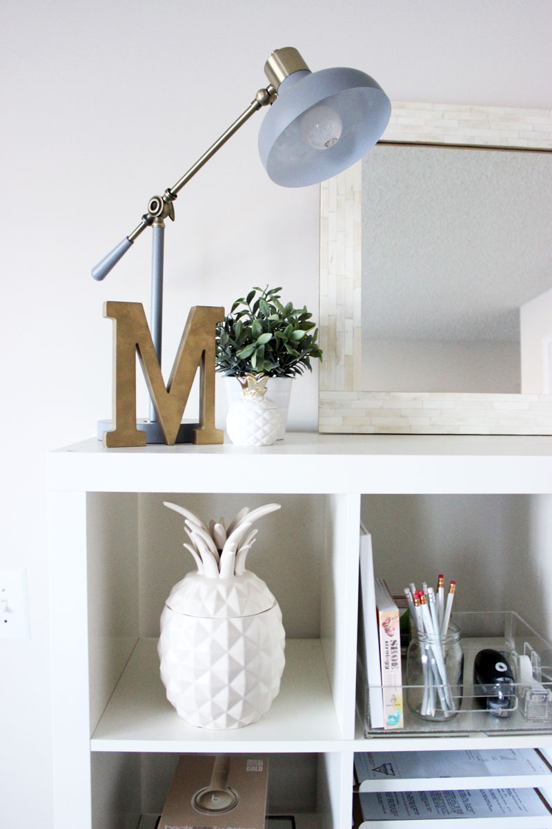 Style-Cusp-Home-office-Reveal-Shelf-Styling-Gray-Office-Lamp-Pineapple-Home-Decor