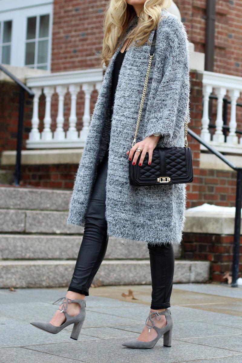 Long-Gray-Cardigan--Quilted-Black-Crossbody-Bag