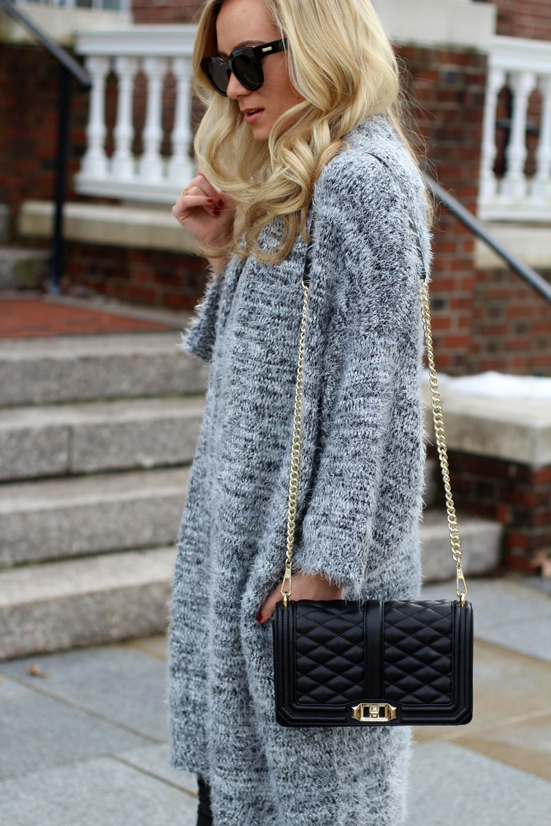 gray-Fuzzy-cardigan-black-crossbody-bag