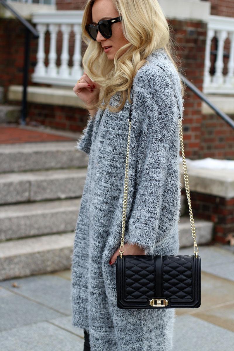 gray-Fuzzy-cardigan-black-crossbody-bag