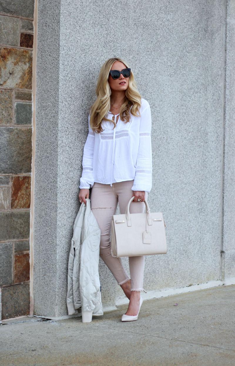 White Boho Blouse with Blush Skinny Jeans