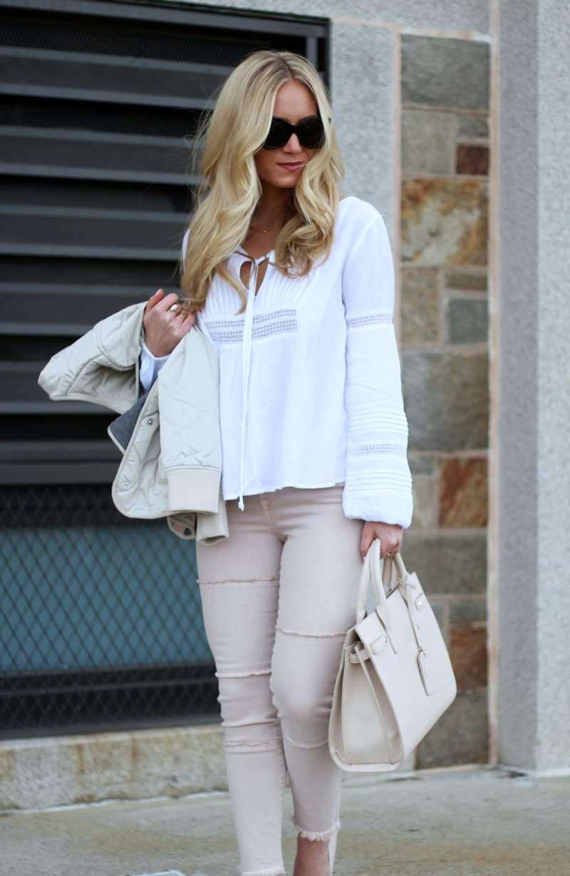 Blush Jeans with White Peasant Top