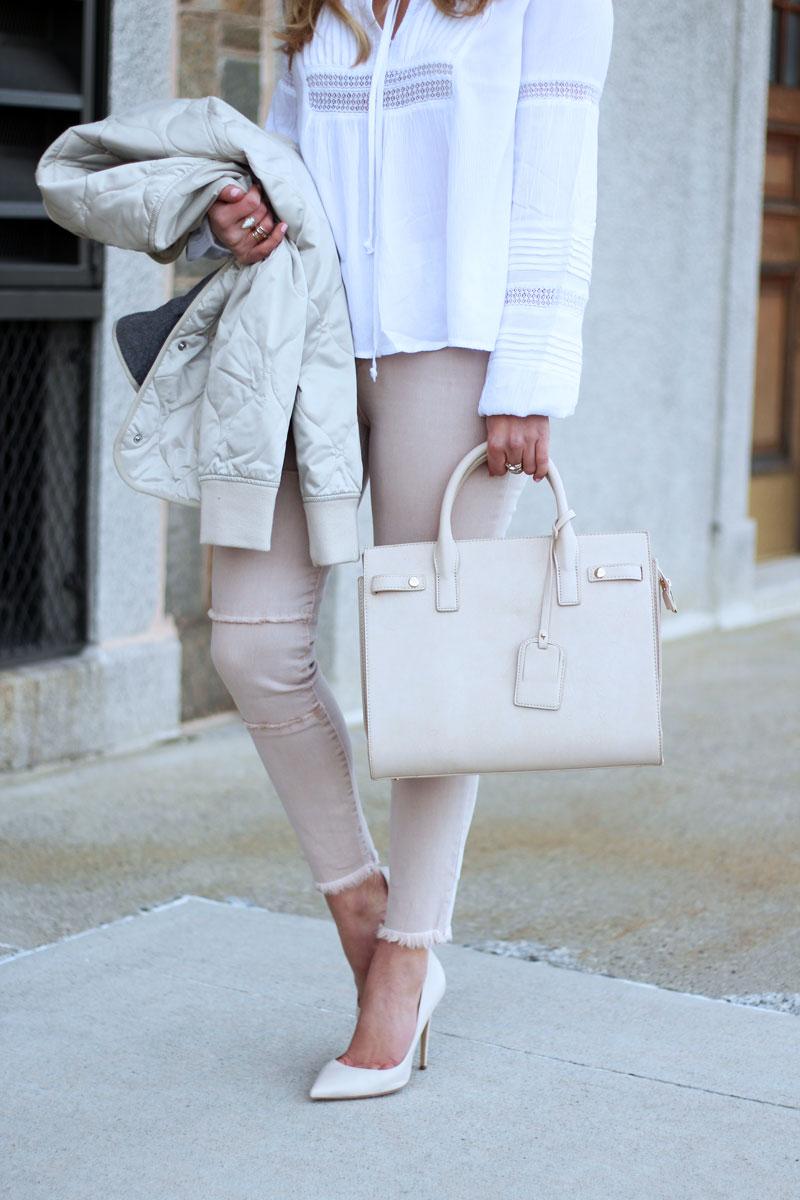 Blush Jeans and Nude Satchel